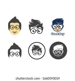 geek boy icon vector illustration design template