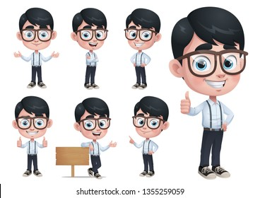 Geek Boy Mascot Character with 7 Poses EPS 10 Vector