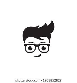 Geek Boy Vector icon design illustration Template