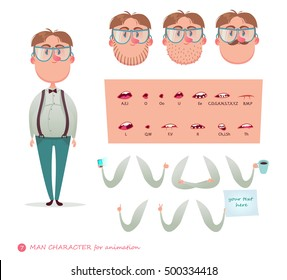 Geek character for your scenes.Parts of body template for design work and animation. Funny cartoon.Vector illustration isolated on white background. Character speaks animations.Man.Wonk.Nerd.Boy