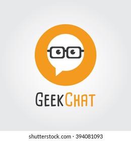 Geek Chat Logo Design. Logo template - nerd, Forum, Community, society.
