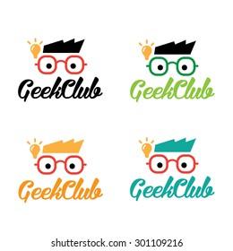 Geek club vector logo template