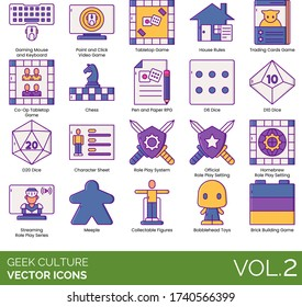 Geek culture icons including gaming mouse and keyboard, point and click videogame, tabletop, house rules, trading card, co-op, chess, pen and paper RPG, dice, character sheet, role play system, meeple