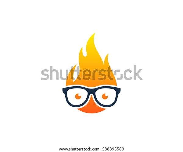 Geek Fire Logo Design Element
