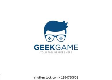 geek game logo, icon, symbol design template