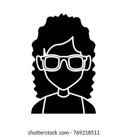 Geek girl with round frame glasses