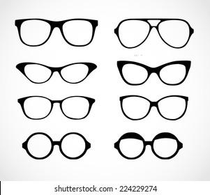 Geek glasses set vector