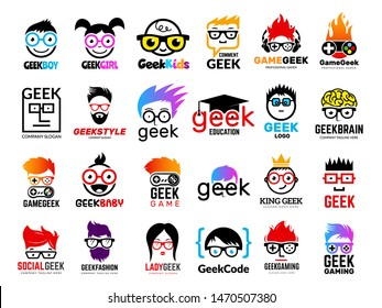 Geek logo. Business badges symbols of gamers nerd smart characters easy learning face with glasses vector collection. Illustration of nerd and geek man in glasses, genius creativity logo