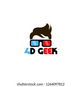 Geek logo vector. People logo vector. Geek logo template