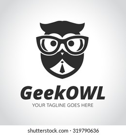 Geek logo,owl,owl logo,learning,education,geek owl,vector logo template