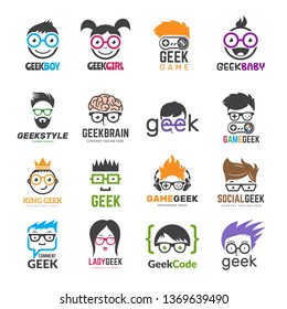 Geek logotypes. Identity for smart kids computer programmers educational vector design