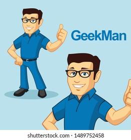 geek man character mascot vector design