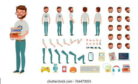 Geek Man Vector. Animated Character Creation Set. Computer Nerd Male. Full Length, Front, Side, Back View, Accessories, Poses, Face Emotions, Gestures. Isolated Flat Cartoon Illustration