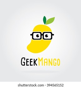 Geek Mango Logo Flat Design. Fruit Vector illustration.