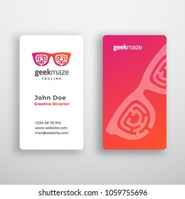 Geek Maze Abstract Vector Business Card Template. Premium Stationary Realistic Mock Up. Modern Typography and Soft Shadows. Glasses with Incorporated Labyrinth Concept Emblem. Isolated.
