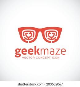 Geek Maze Vector Concept Symbol Icon or Logo Template