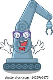 Geek mechatronic robotic arm in mascot shape