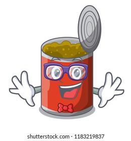 Geek metal food cans on a cartoon