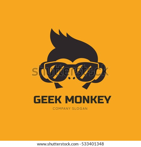 geek monkey logo template のベクター画像素材 ロイヤリティフリー