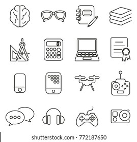 Geek or Nerd Culture & Equipment Icons Thin Line Vector Illustration Set