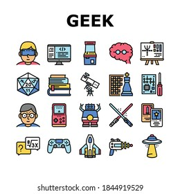 Geek, Nerd And Gamer Collection Icons Set Vector. Chess And Video Game, Mathematics And Astrology, Ufo And Futuristic Weapon Geek Concept Linear Pictograms. Color Contour Illustrations