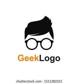 Geek or nerd logo icon - stock vector