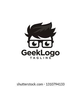 Geek Nerd Logo Stock Vector