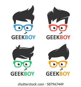 Geek or nerd logo vector set. Cartoon face smart boy with glasses. Icons for education, gaming, technological or scientific applications and sites.