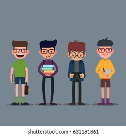 Geek, nerd and smart hipster set of character cartoon,Education Concept, Vector Illustrations