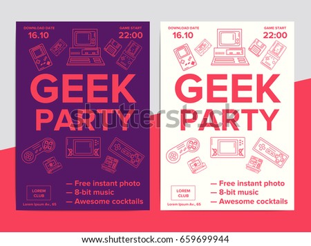 geek party poster electronic gadgets 90 s のベクター画像素材