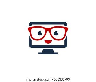 Geek PC Computer Logo Design Template