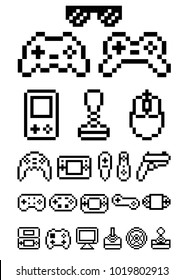 geek pixel art set gamepad and console