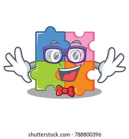 Geek puzzle character cartoon style