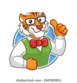 Geek Tiger mascot vector in isolated white background, tiger character design, cartoon style