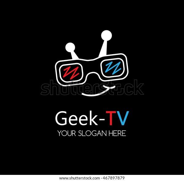 Geek Tv Logo Template Nerd Icon Stock Vector (Royalty Free