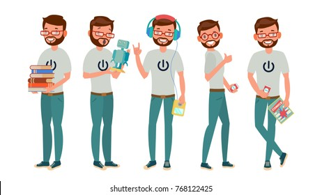 Geek Vector. Man. Isolated Flat Cartoon Character Illustration