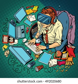 IT geek working on computers, virtual reality, pop art retro vector illustration. Hacker cyber specialist