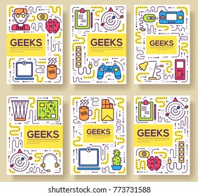 it geeks vector brochure cards thin line set. office professional developer template of flyear, magazines, posters, book cover, banners. Layout workplace technology outline illustrations modern pages.