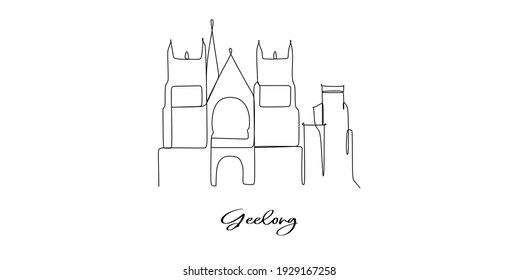 Geelong of Australia landmark skyline - continuous one line drawing