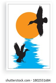 Geese birds silhouettes on sunset, vector. Swamp life cartoon illustration. Scandinavian minimalist art design. Poster design in frame. Wall art, artwork.