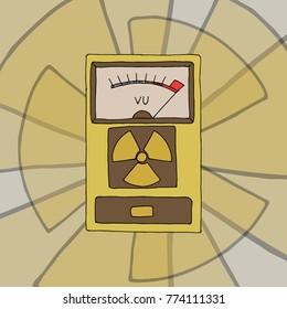 Geiger counter radiation detector meter. Hand drawn vector stock illustration.