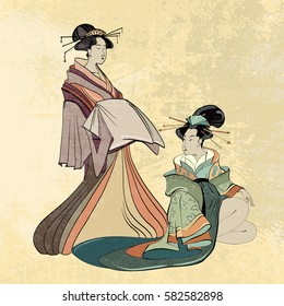 Geisha ancient Japan classical Japanese woman ancient style of drawing. Beautiful japanese geisha girl
