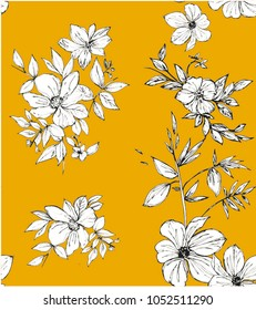 Geisha flowers pattern