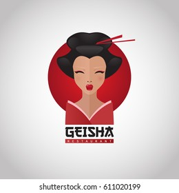 """Geisha"" restaurant logo. Design elements with flat portrait illustration of Japanese girl in traditional kimono."