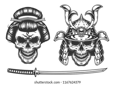 Geisha and samurai concept with skull. Vector illustraiton