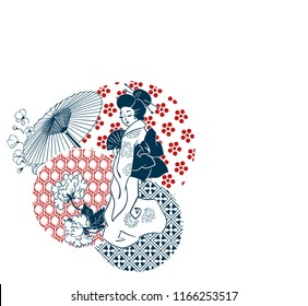 geisha woman umbrella fan circles japanese chinese vector design pattern card