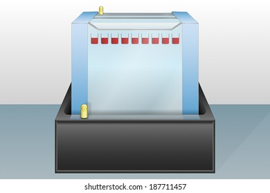 Gel electrophoresis device with loaded sample vector illustration