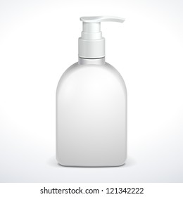 Gel, Foam Or Liquid Soap Dispenser Pump Plastic Bottle White. Ready For Your Design. Product Packing Vector EPS10