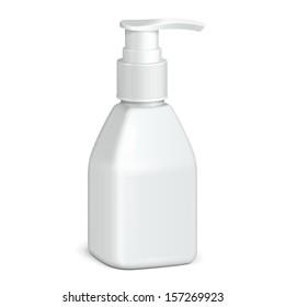 Gel, Foam Or Liquid Soap Dispenser Pump Plastic Bottle White. Ready For Your Design. Product Packing Vector EPS10