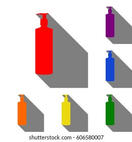 Gel, Foam Or Liquid Soap. Dispenser Pump Plastic Bottle silhouette. Set of red, orange, yellow, green, blue and violet icons at white background with flat shadow.
